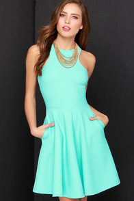 Now Or Skater Mint Green Dress at Lulus.com!