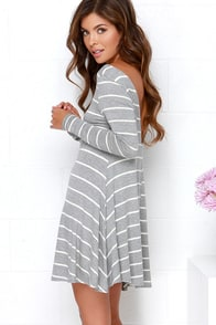 Swing Along Ivory and Grey Striped Long Sleeve Dress at Lulus.com!