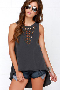 Amuse Society Die Cut Washed Black Tunic Top at Lulus.com!