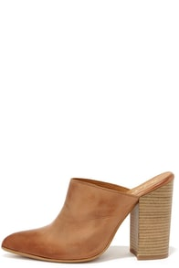 Matisse Annie Cognac Leather Pointed Toe Mules at Lulus.com!