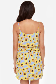 Basking in the Sunflower Print Dress at Lulus.com!
