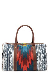 Tigerbear Republik Zeppo Blue Southwestern Print Weekender Bag at Lulus.com!