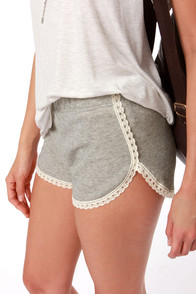 Got Me Hooked Grey Lace Shorts at Lulus.com!