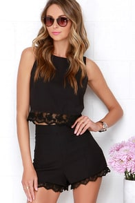 Lace is On Black Lace Shorts at Lulus.com!