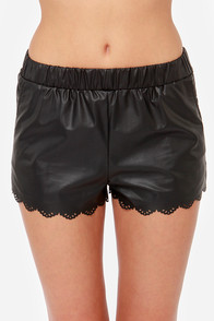 Over the Edge Black Vegan Leather Shorts at Lulus.com!