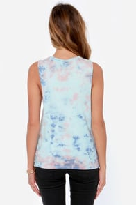 Element Eden Kiss Me Blue Tie-Dye Muscle Tee at Lulus.com!