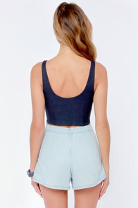 Deep Thoughts Navy Blue Crop Top at Lulus.com!