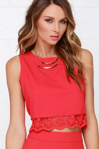 Baltic Border Coral Red Lace Crop Top at Lulus.com!