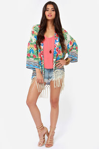 Roll the Paradise Floral Print Kimono Top at Lulus.com!