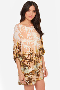 Coconuts For You Peach Print Shift Dress at Lulus.com!