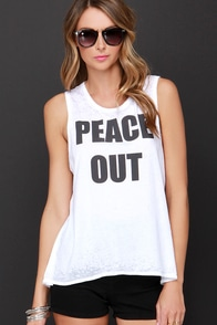 Chaser Peace Out Ivory Muscle Tee at Lulus.com!