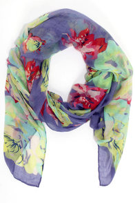 Flowers of the Day Purple Floral Print Scarf