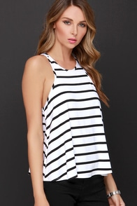 Dee Elle Chipper Chap Black and White Striped Tank Top at Lulus.com!