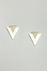 Flashback to the Future Gold Triangle Earrings at Lulus.com!