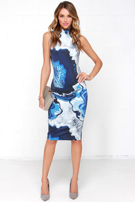 Cameo Metal and Dust Blue Print Midi Dress at Lulus.com!
