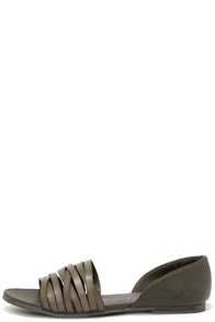 Blowfish Nadya Steel Grey Peep Toe Flats at Lulus.com!