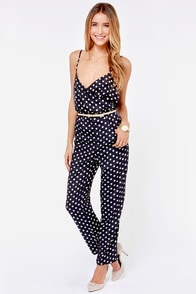See Spot Stun Navy Blue Polka Dot Jumpsuit at Lulus.com!