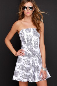 If You Like Pina Coladas Ivory Pineapple Print Dress at Lulus.com!