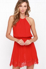 Spice Up Your Life Red Lace Dress at Lulus.com!