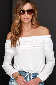 Overnight Sun-sation Ivory Off-the-Shoulder Crop Top at Lulus.com!
