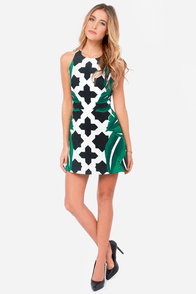Cameo Feel It All Backless Green Print Dress at Lulus.com!