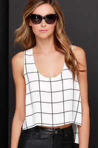 Truth or Square Black and Ivory Grid Print Top at Lulus.com!
