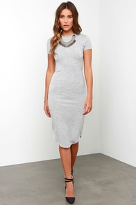 Moonlight Savings Time Heather Grey Midi Dress at Lulus.com!