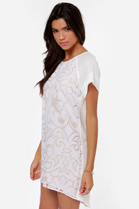 Keepsake Little Talk Ivory Shift Dress at Lulus.com!