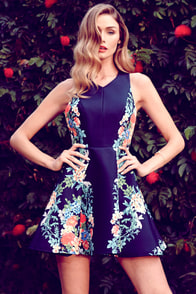 Keepsake Second Chance Navy Blue Floral Print Dress at Lulus.com!