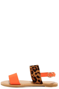 Wild Sides Leopard and Orange Sandals at Lulus.com!