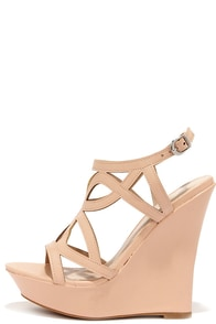 Pretty Please Nude Caged Wedge Sandals at Lulus.com!