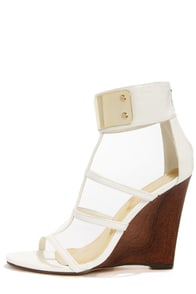 Liliana Jaida 4 White Gold-Plated T-Strap Wedges