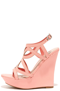 Pretty Please Peach Caged Wedge Sandals at Lulus.com!