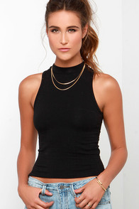 Out 'Til Dawn Black Crop Top at Lulus.com!