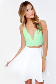 Deep Thoughts Mint Green Crop Top