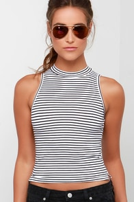 Striper Active Black and Ivory Striped Crop Top at Lulus.com!