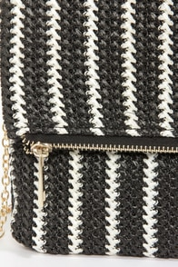 Band Together Ivory and Black Striped Clutch at Lulus.com!