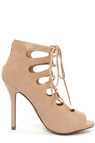 My Delicious Misty Camel Lace-Up Peep Toe Heels at Lulus.com!