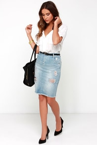 Dittos Kathleen High-Waisted Distressed Denim Pencil Skirt at Lulus.com!