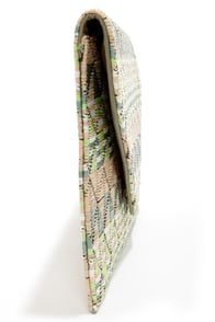 Weave Around Peach Print Clutch at Lulus.com!
