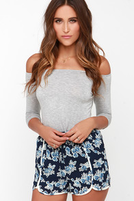 Floral Compass Navy Blue Floral Print Shorts at Lulus.com!