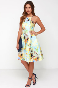 JOA I Keep on Pollen Yellow Print Midi Dress at Lulus.com!