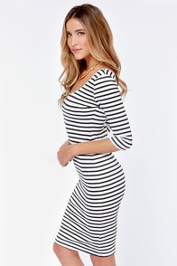 Stripe a Pose Black and White Striped Bodycon Dress at Lulus.com!