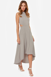 See You Swoon Cutout Grey High-Low Dress at Lulus.com!
