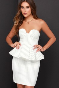 Finders Keepers Revelation Ivory Striped Peplum Dress at Lulus.com!