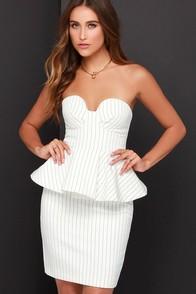 Finders Keepers Revelation Ivory Striped Peplum Dress at Lulus.com!