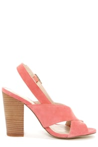 Chinese Laundry Ballad Coral Suede Slingback High Heel Sandals at Lulus.com!