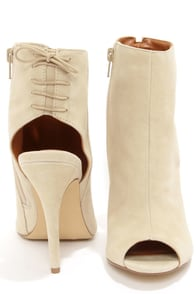 Chinese Laundry Jinxy Oatmeal Suede Peep Toe High Heel Booties at Lulus.com!