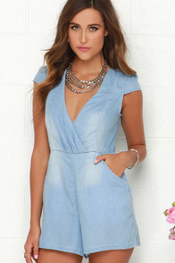 Mink Pink Somewhere in Time Blue Chambray Romper at Lulus.com!
