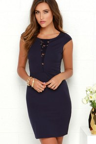 Black Swan Eternal Navy Blue Lace Dress at Lulus.com!